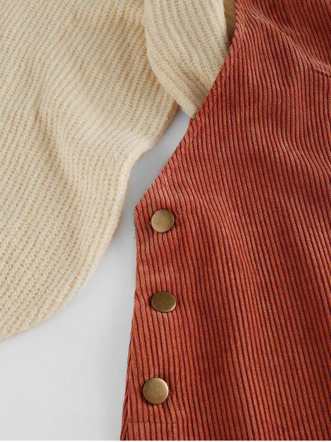latest ZAFUL Corduroy Pocket Pinafore Dress - CHESTNUT RED S Mobile
