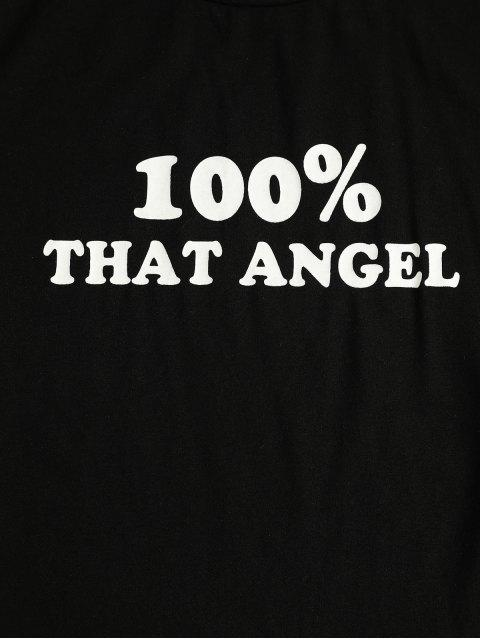 womens ZAFUL That Angel Graphic Crop Tee - BLACK M Mobile