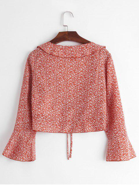 women ZAFUL Ditsy Print Plunge Tie Flare Sleeve Blouse - CHESTNUT RED L Mobile