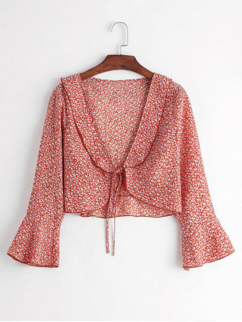 buy ZAFUL Ditsy Print Plunge Tie Flare Sleeve Blouse - CHESTNUT RED XL Mobile