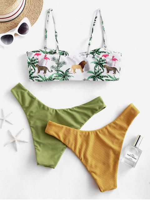 chic ZAFUL Animal Plant Print Bandeau Three Piece Swimsuit - GOLDEN BROWN M Mobile