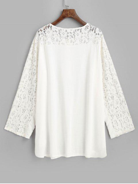 fancy Long Sleeve Half Buttoned Lace Panel Beach Dress - WHITE ONE SIZE Mobile