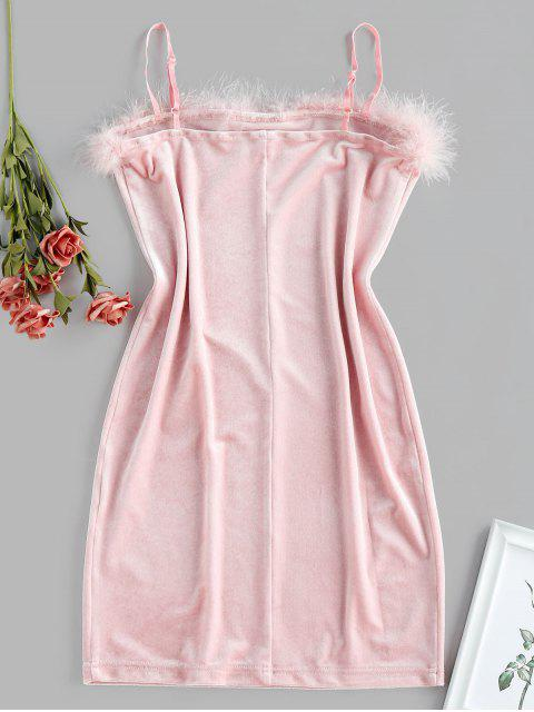 ZAFUL Robe Moulante Ourlet avec Plume en Velours - Rose  S Mobile