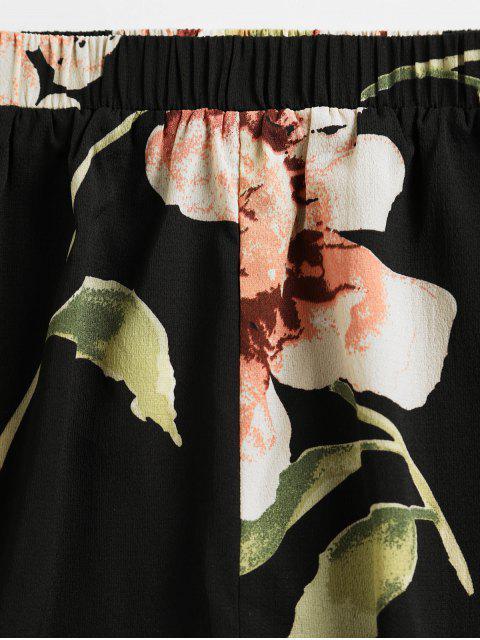 unique ZAFUL Flower Print Halter Contrast Two Piece Set - BLACK S Mobile