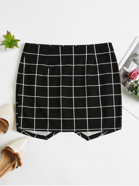 sale ZAFUL Plaid Tulip Hem Short Skirt - BLACK M Mobile