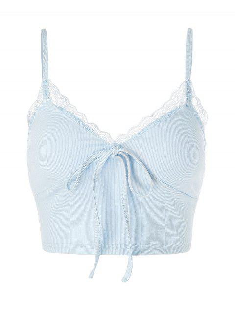 trendy ZAFUL Lace Insert Bowknot Crop Camisole - LIGHT BLUE S Mobile