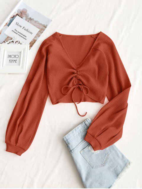 fashion Textured Knitted Gathered Top - ORANGE M Mobile