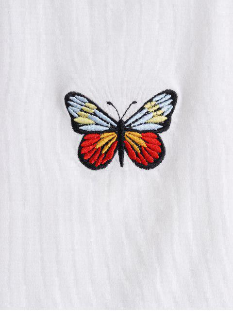 ZAFUL Tank Top con Bordado de Mariposa - Blanco L Mobile