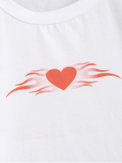 ZAFUL Haut Court Cœur Graphique - Blanc L Mobile