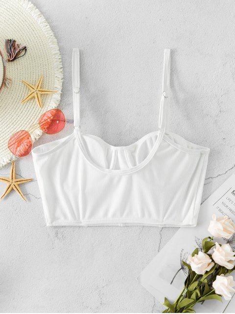 buy ZAFUL Underwire Ribbed Bustier Bikini Top - WHITE XL Mobile