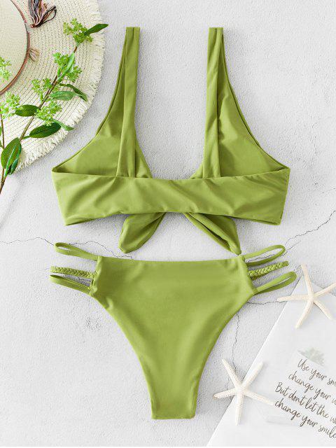 ZAFUL Maillot de Bain Bikini Plongeant Noué Tressé à Bretelle - Vert Pistache M Mobile