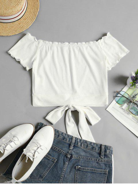 outfits ZAFUL Off Shoulder Ribbed Knotted Frilled Crop Tee - MILK WHITE M Mobile