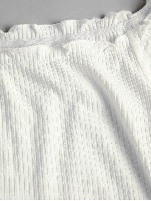 ZAFUL T-shirt Court Côtelé Noué à Epaule Dénudée à Volants - Blanc Lait XL Mobile