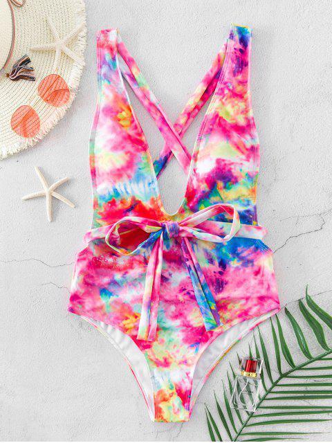 lady ZAFUL Wraparound Tie Dye Drop Armhole One-piece Swimsuit - MULTI-A S Mobile