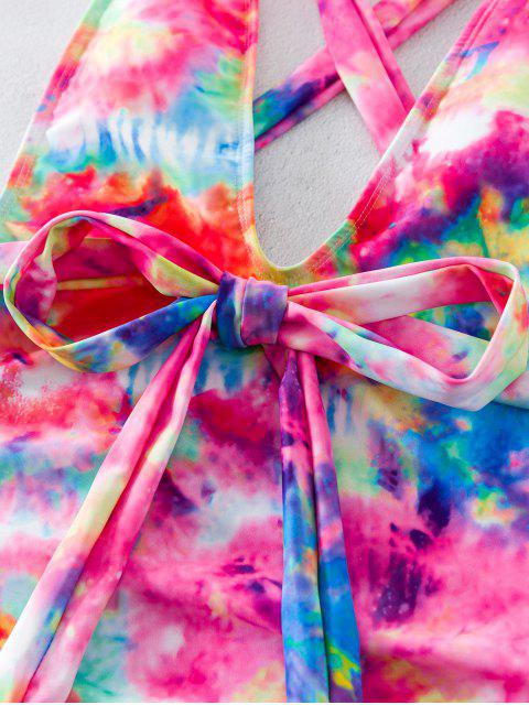 new ZAFUL Wraparound Tie Dye Drop Armhole One-piece Swimsuit - MULTI-A XL Mobile