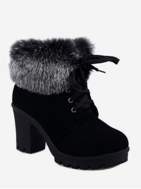 affordable Faux Fur Foldover Lace Up High Heel Boots - BLACK EU 36 Mobile