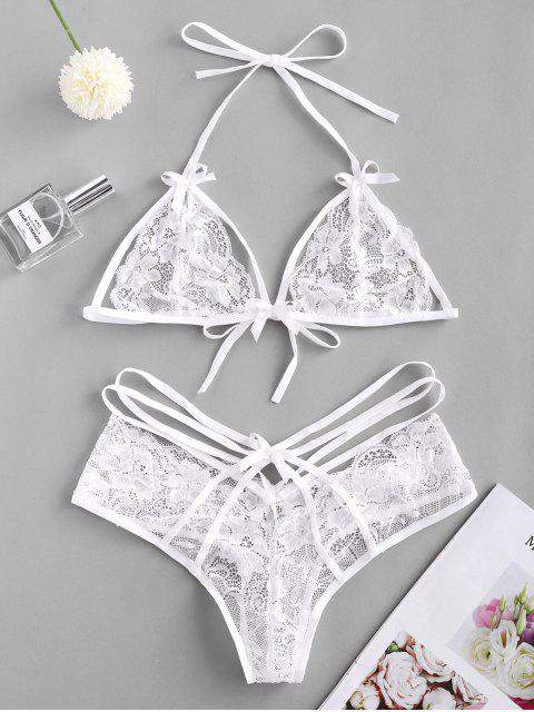 fancy Strappy Halter Lace Lingerie Set - WHITE ONE SIZE Mobile