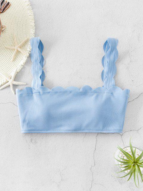 ZAFUL Textured Back Tie Scalloped Bikini Top - ضوء السماء الزرقاء S Mobile