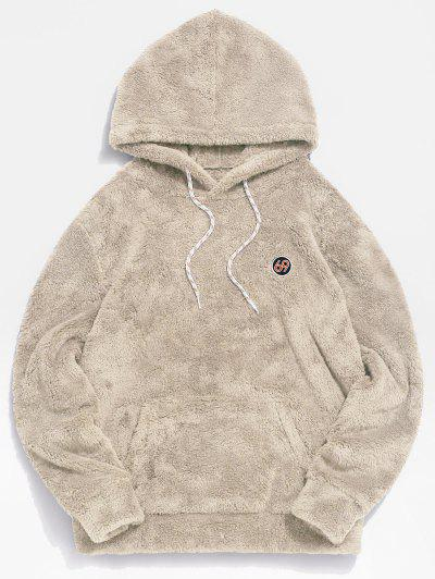 ZAFUL Figure Pattern Solid Fluffy Hoodie - Beige M