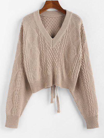 ZAFUL X Luna Montana Plunging Cutout Tie Back Crop Sweater - Khaki L