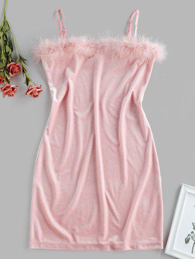ZAFUL Feather Trim Velvet Bodycon Club Dress - Pink L
