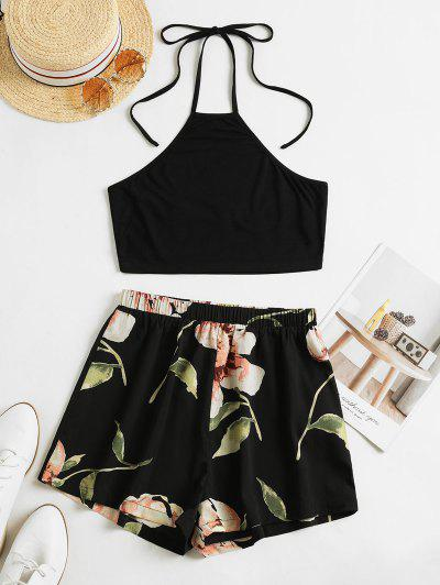 ZAFUL Flower Print Halter Contrast Two Piece Set - Black S