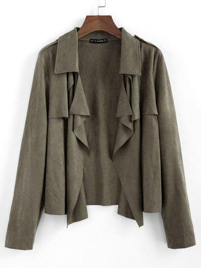 ZAFUL Draped Front Epaulet Suede Jacket - Camouflage Green Xl