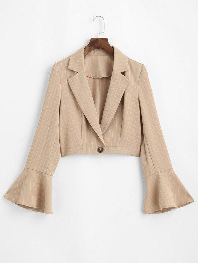 ZAFUL Pinstriped Trumpet Sleeve Cropped Blazer - Tan Xl