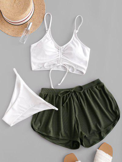 ZAFUL Cinched Ribbed Three Piece Swimsuit - White M