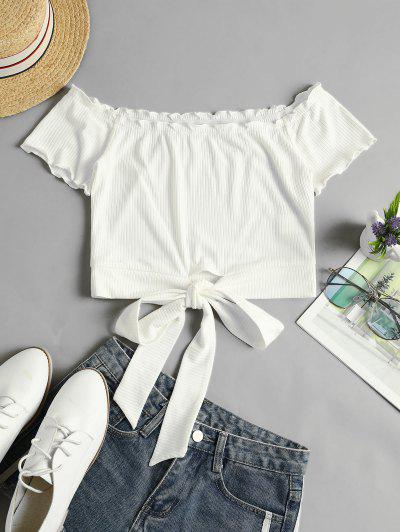ZAFUL Off Shoulder Ribbed Knotted Frilled Crop Tee - Milk White S