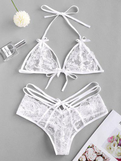 Strappy Halter Lace Lingerie Set - White