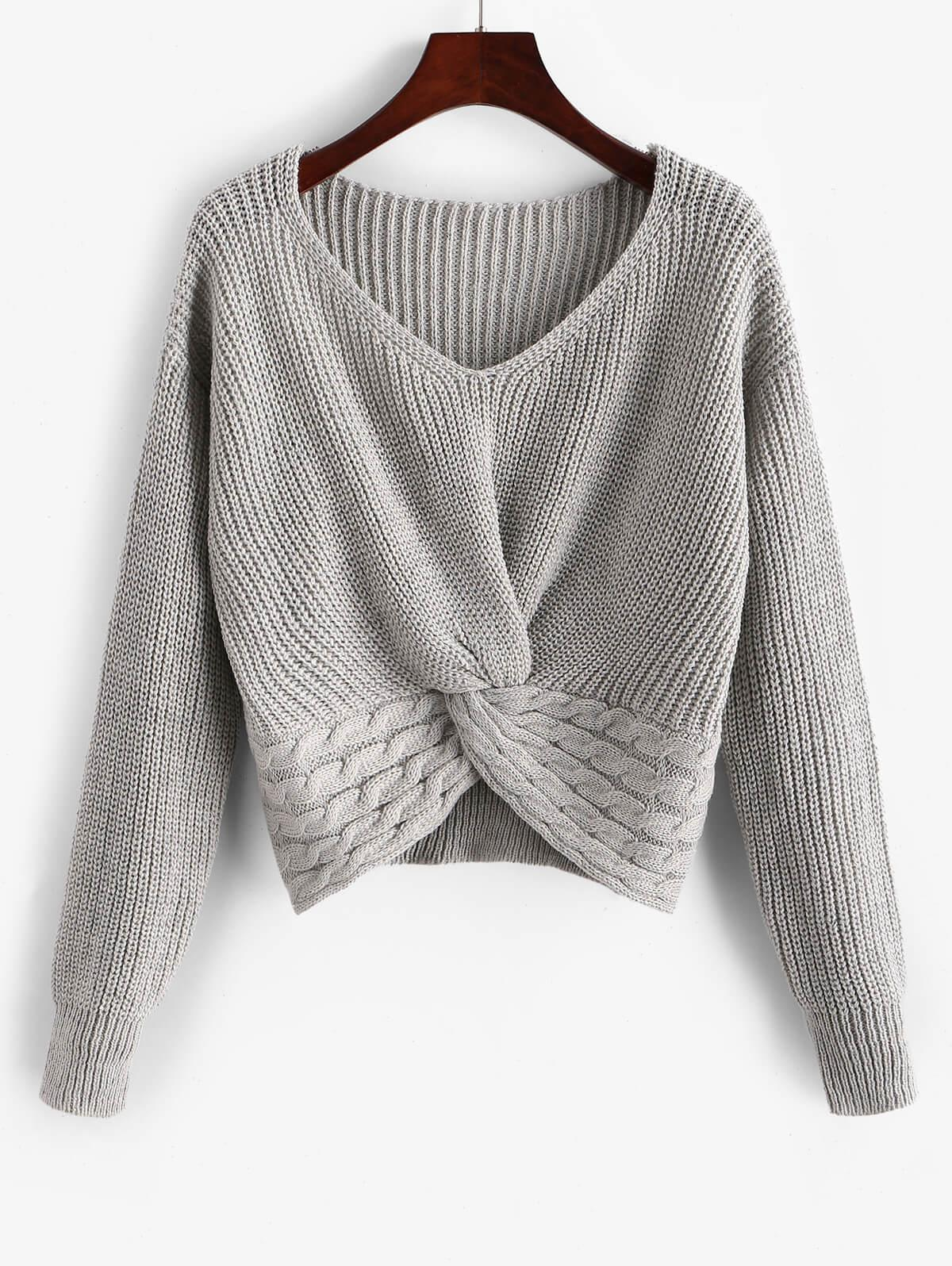ZAFUL Twist Front Cable Knit Chunky Sweater