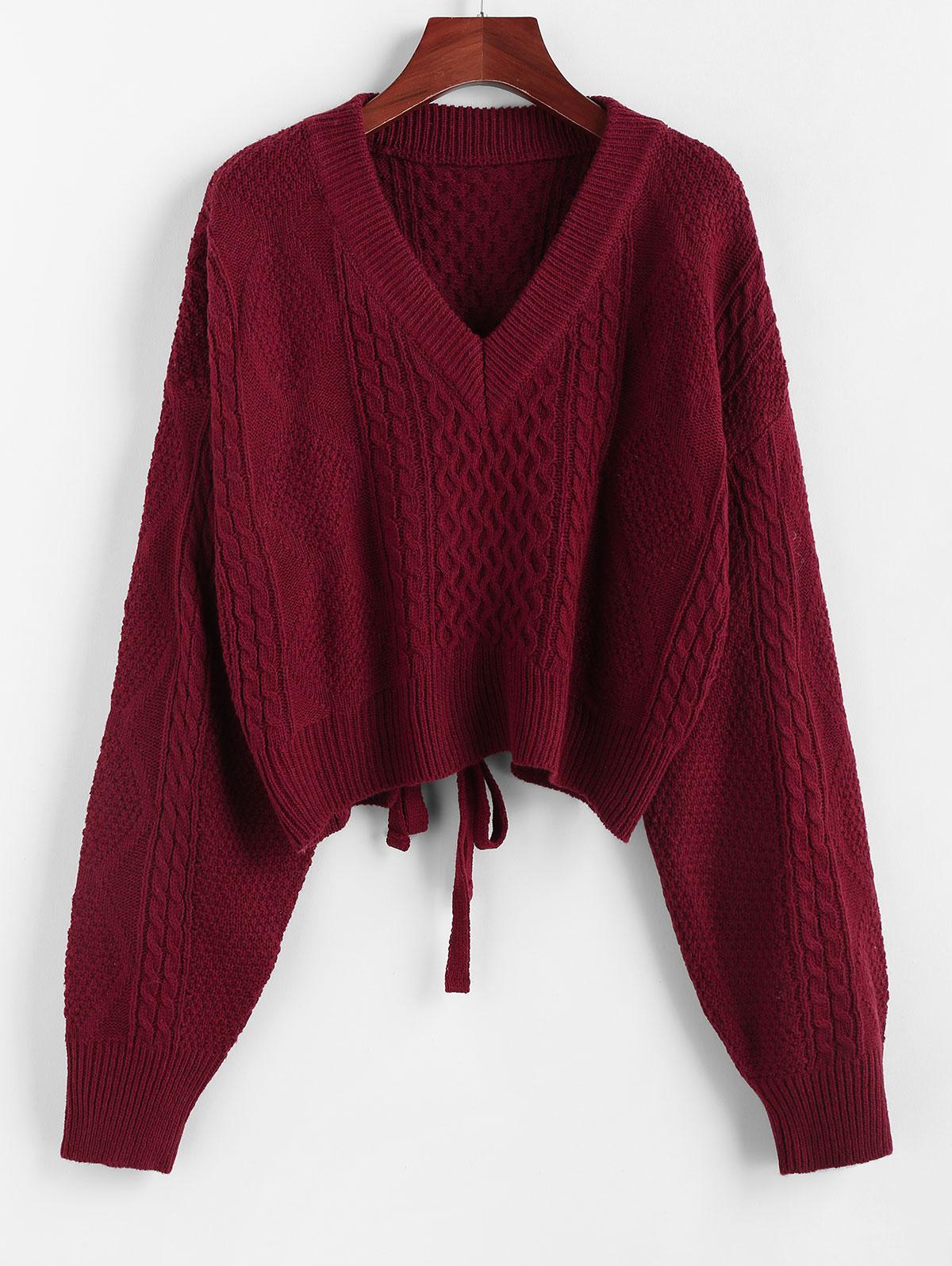 ZAFUL X Luna Montana Plunging Cutout Tie Back Crop Sweater