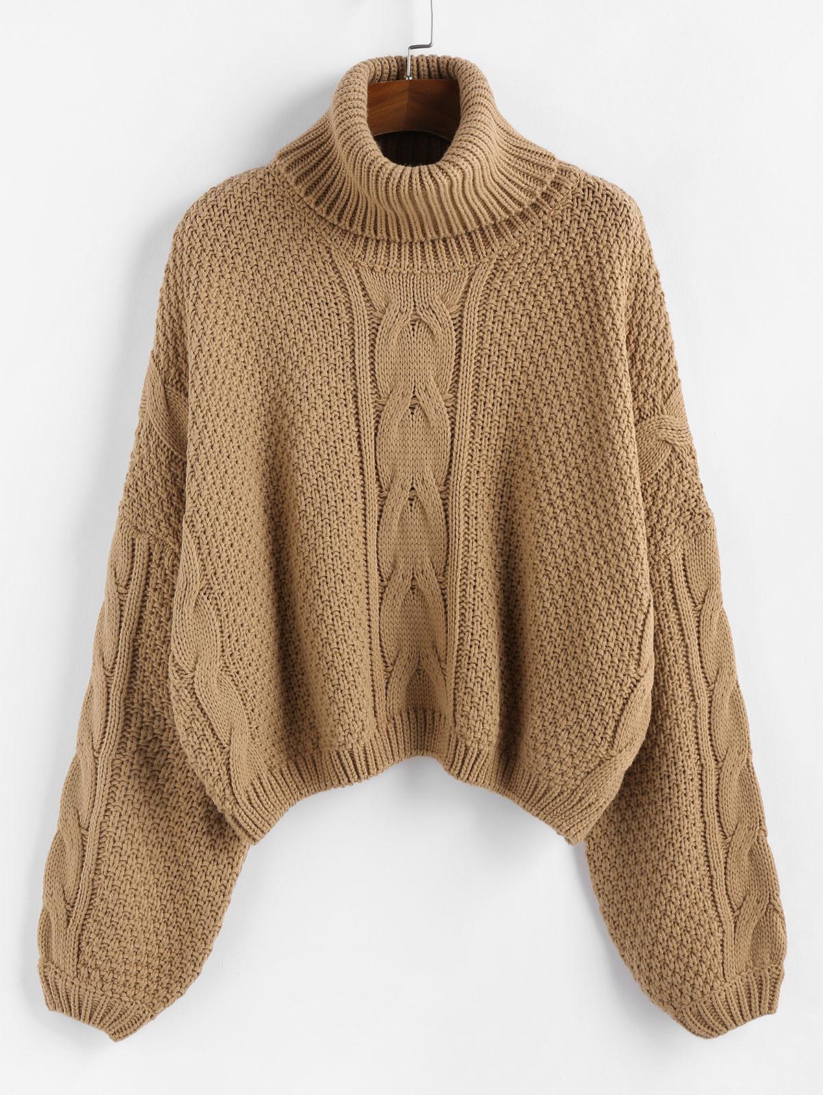 ZAFUL X Luna Montana Drop Shoulder Cable Knit Turtleneck Sweater