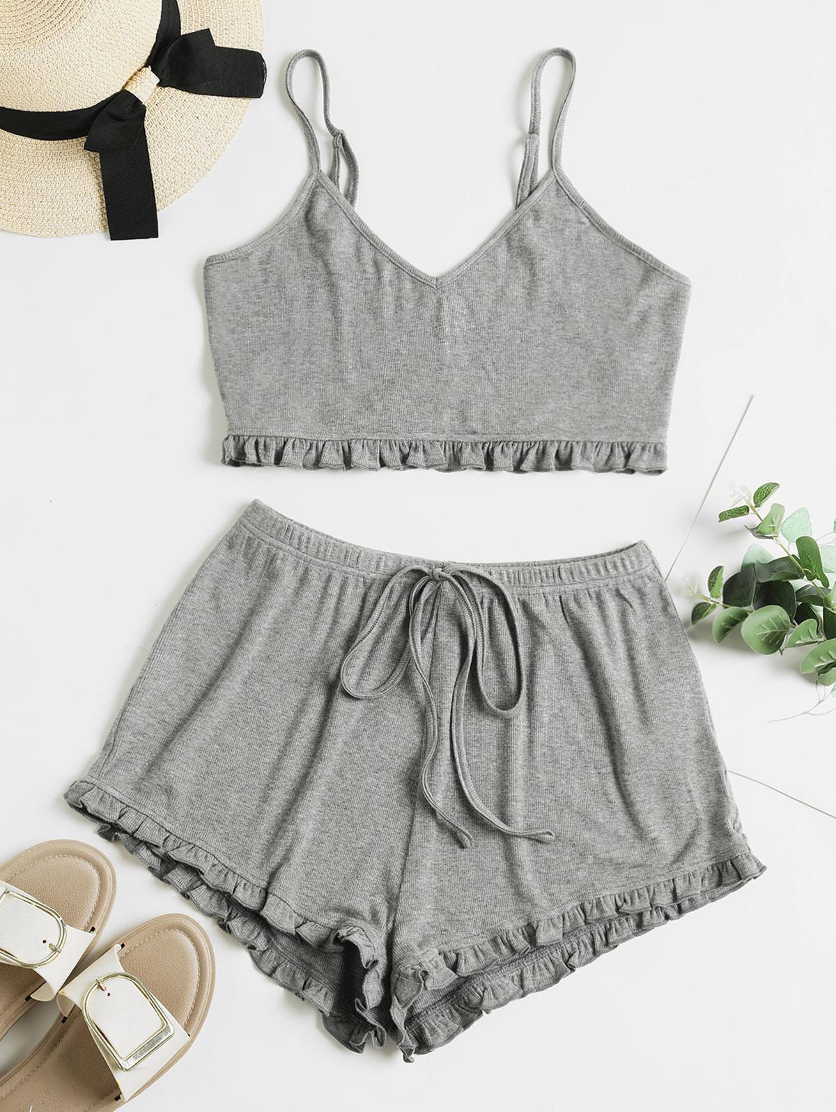 ZAFUL Frilled Ribbed Tie Cami Two Piece Set