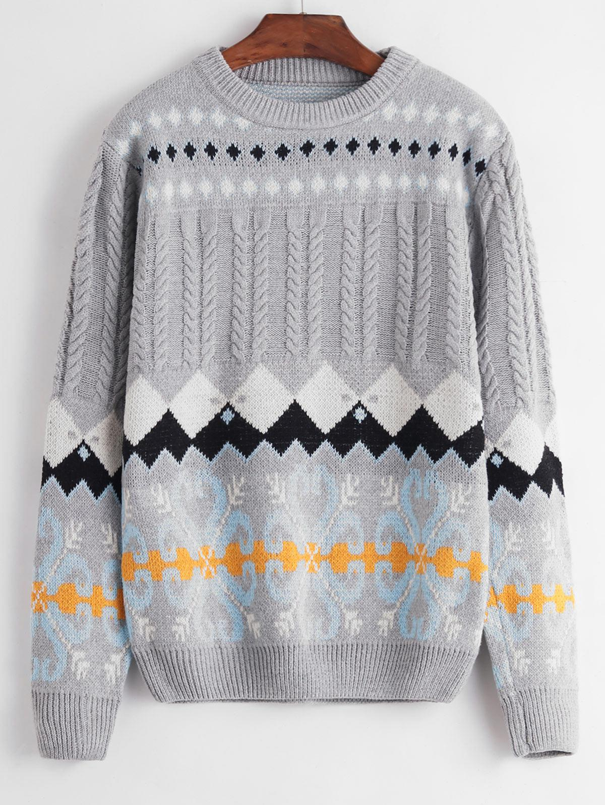 Crew Neck Intarsia Knit Graphic Cable Knit Sweater