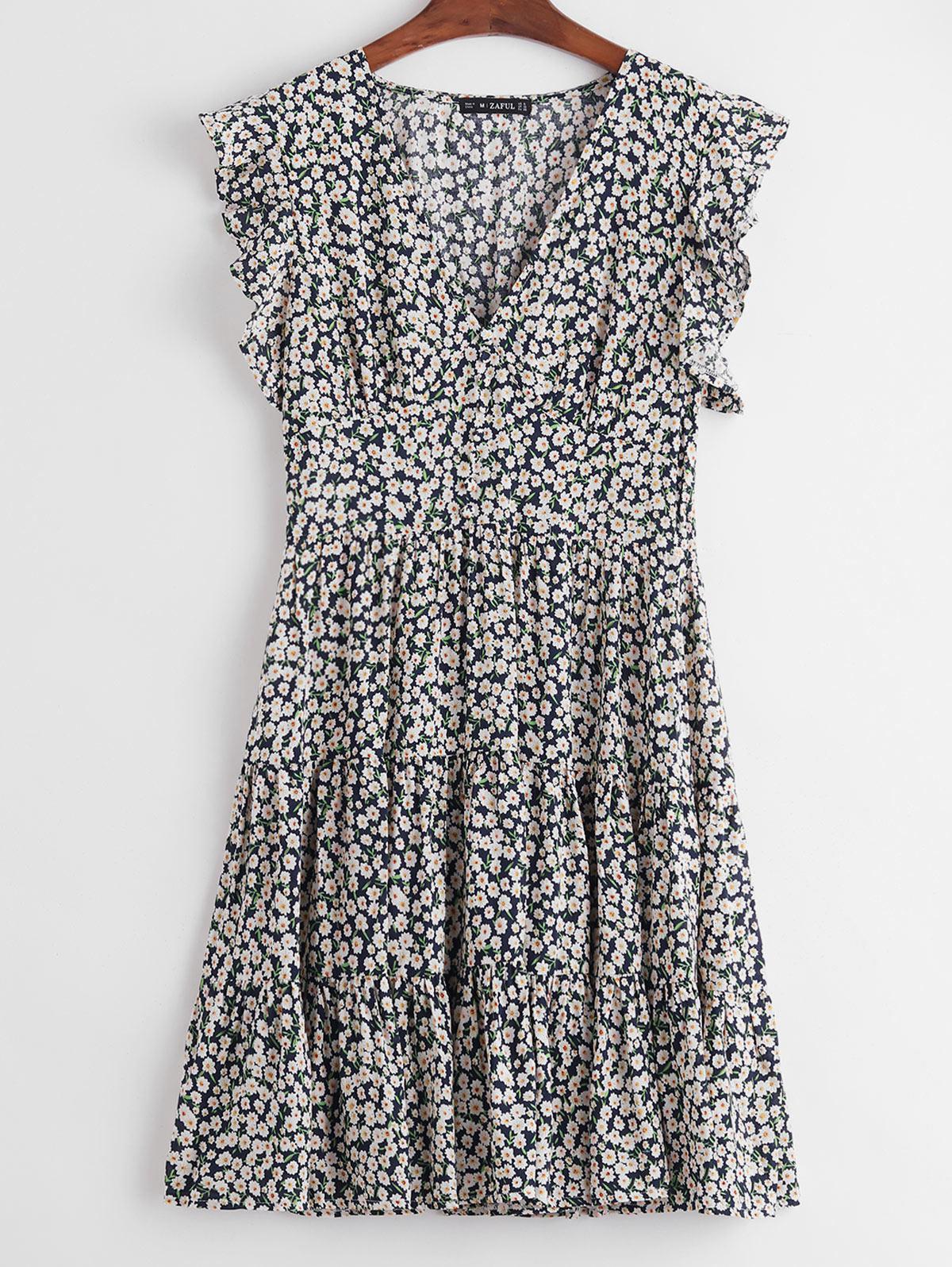 ZAFUL Ditsy Floral Ruffle Armhole Flounce Dress фото