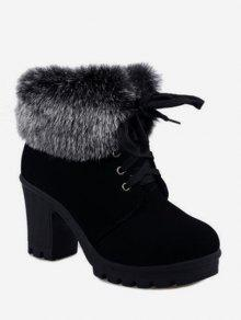 أحذية كعب فو الفراء Foldover ربط الحذاء حتى السامي - أسود الاتحاد الأوروبي 36