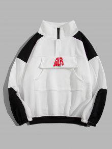 PROMOS Sweat-shirt Lettre Imprimée En Blocs De Couleurs à Goutte Epaule - Blanc Xl
