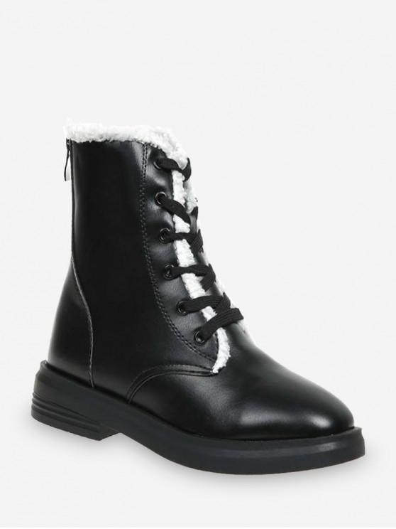 hot Faux Fur Trim Warm Ankle Boots - BLACK EU 39
