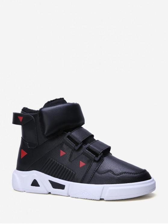 online Contrast Triangle Hook Loop High Top Sneakers - BLACK EU 41