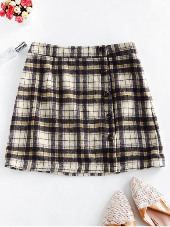 ZAFUL Mock botón de mezcla de lana falda de tela escocesa - Multicolor S
