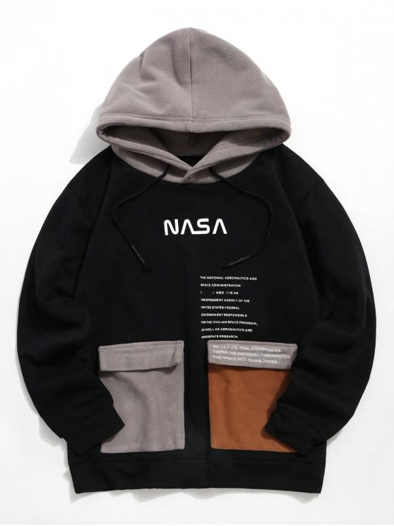 new Graphic Printed Pocket Decoration Casual Hoodie - BLACK L