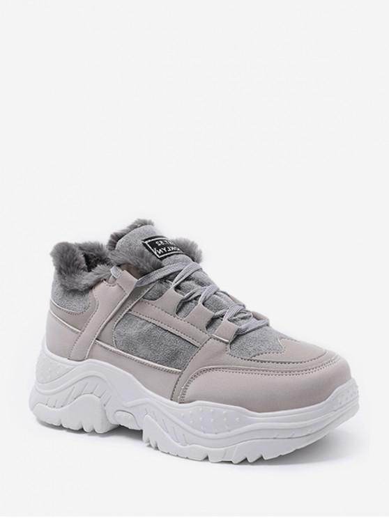 women Mix Material Fleece Casual Dad Sneakers - GRAY EU 38