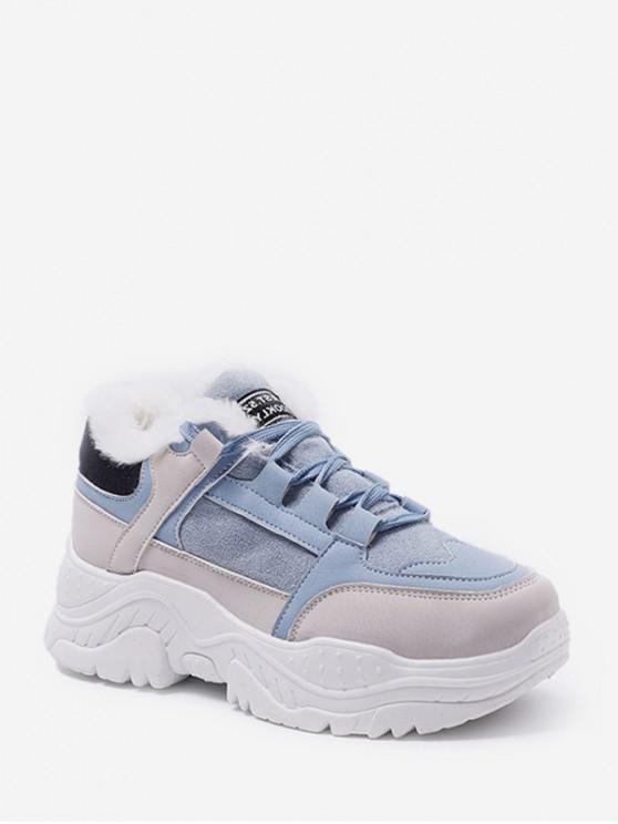 ladies Mix Material Fleece Casual Dad Sneakers - BLUE EU 37