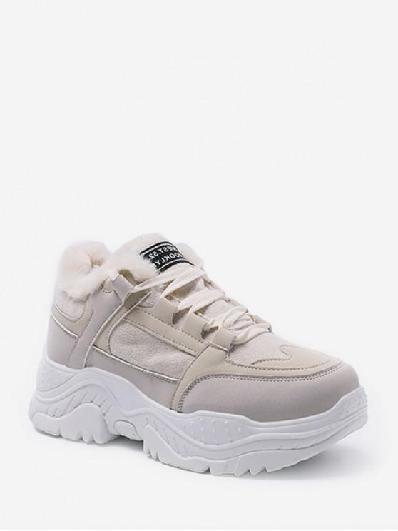 unique Mix Material Fleece Casual Dad Sneakers - BEIGE EU 37