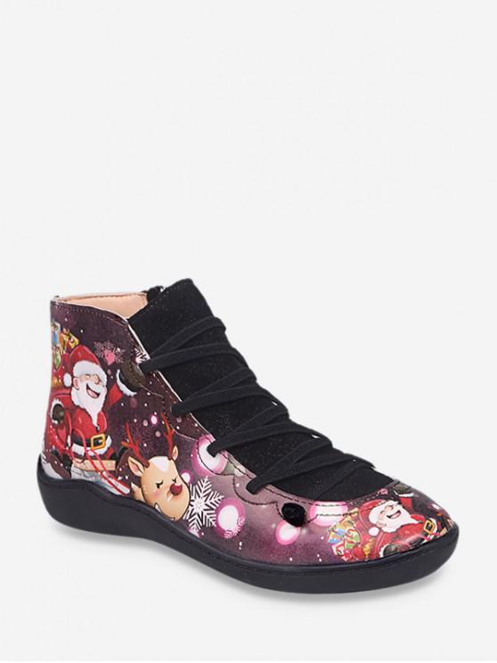 คริสต์มาสซานตาพิมพ์ลำลองข้อเท้าบู๊ทส์ - สีดำ สหภาพยุโรป 42