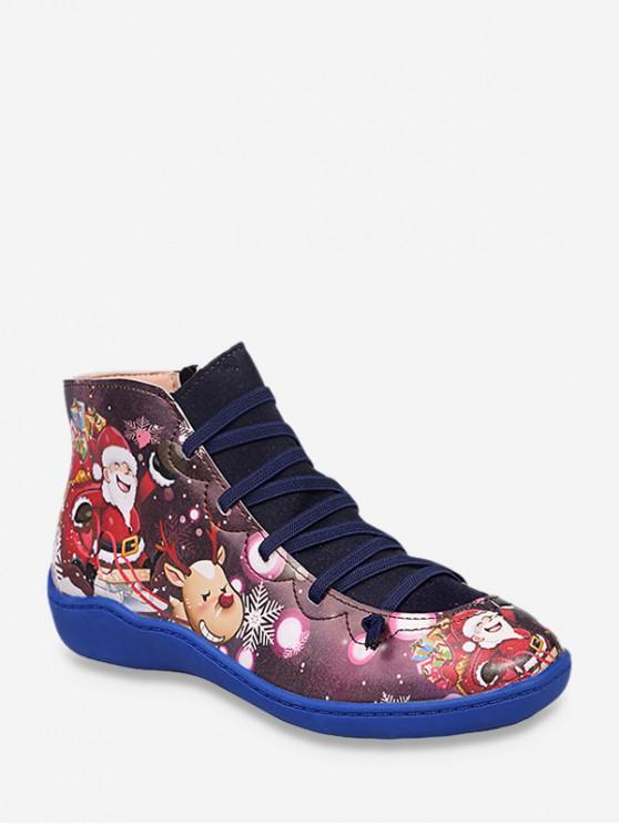 คริสต์มาสซานตาพิมพ์ลำลองข้อเท้าบู๊ทส์ - สีน้ำเงินโคบอลต์ สหภาพยุโรป 42