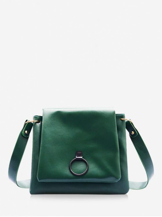 online O-ring PU Leather Flap Crossbody Bag - DARK GREEN