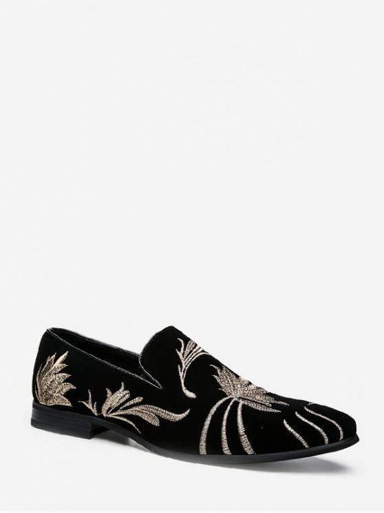 shops Pointed Toe Embroidered Floral Shoes - BLACK EU 40